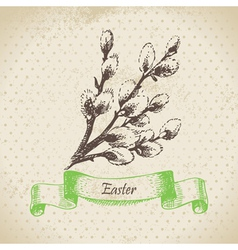 Vintage easter background with pussy-willow vector
