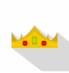 Gold royal crown icon flat style vector