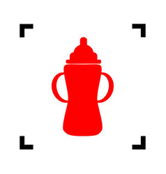Baby bottle sign  red icon inside black vector