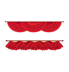 Short ceiling red curtains set theatre decoration vector