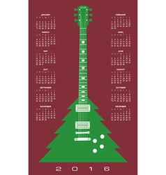 2016 christmas tree guitar calendar vector
