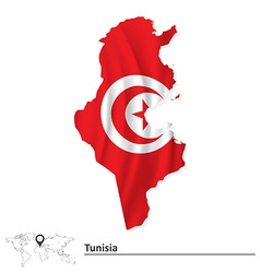 Map of tunisia with flag vector