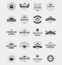 Set mountains logos badges and labels vector