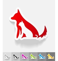Realistic design element dog and cat vector