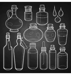 Graphic collection of glass bottles vector