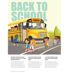 Back to school safety flayer depicting school bus vector