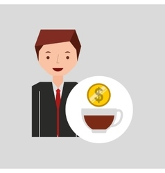 Character businessman with cup cofffee money vector