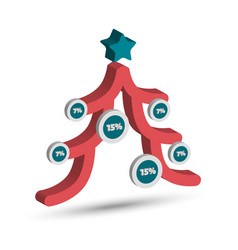 christmas tree chart vector image vector image