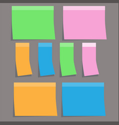 Coloful sticky paper note on gray background vector