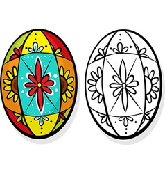 colorful easter egg - coloring book vector image vector image