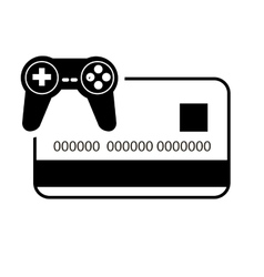 Credit or debit card and game controller icon vector