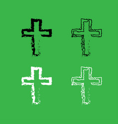 Cross icon black and white color set vector