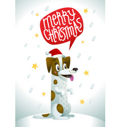 cute dog in santa claus red hat with speech bubble vector image
