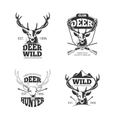 Deer head retro badges labels logos vector image