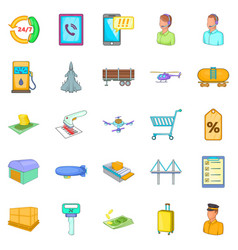 delivery note icons set cartoon style vector image