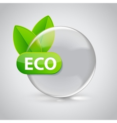 Eco sign in 3D glass sphere with green leafs vector image