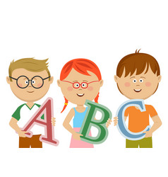group of little kids holding abc letters vector image