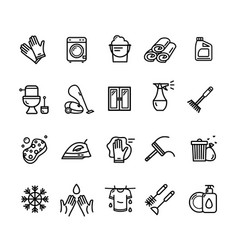 household and cleaning tools black thin line icon vector image vector image