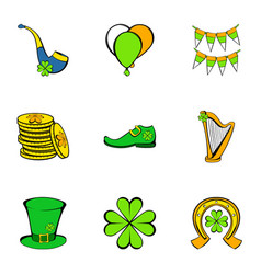 Irish holiday icons set cartoon style vector