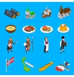 Norway Touristic Attractions Isometric Icons vector image vector image
