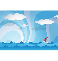 Ocean view with boat vector