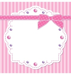 Pink frame with bow vector