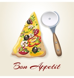 Pizza and knife vector image