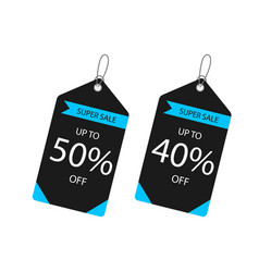price tag super sale up to 50 40 off imag vector image