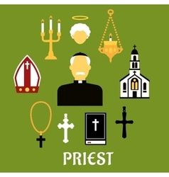 Priest with other religious icons flat style vector