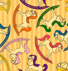 Seamless pattern of toy horses vector