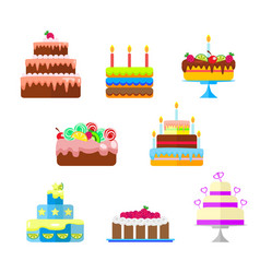 set of cakes with fruit and candles to the vector image vector image