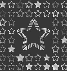 Silver metallic star icon design set vector