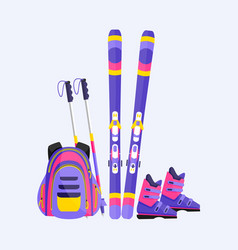 Skis poles boots and backpack winter sport vector