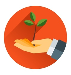 Small tree in a hand vector image vector image