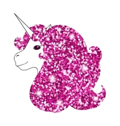 Unicorn with abstract sparkle pink glitter glowing vector image
