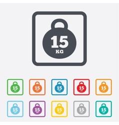 Weight sign icon 15 kilogram kg sport symbol vector