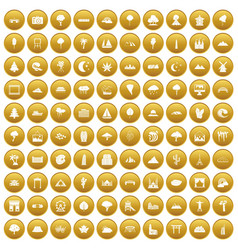100 view icons set gold vector
