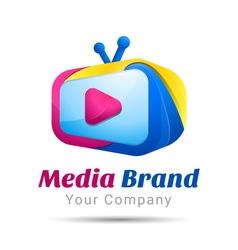 Screen TV color range Volume Logo Colorful 3d vector image
