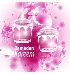 Watercolor purple blob ramadan kareem vector