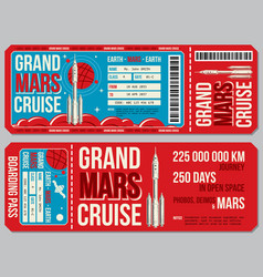 Space travel boarding pass template vector