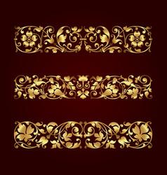 Golden calligraphic ornaments vector