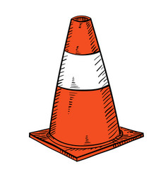 Traffic cone in hand drawn vector
