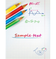paper sheet template with the colored penciles vector image