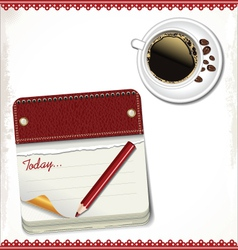 Calendar and cup of coffee vector image