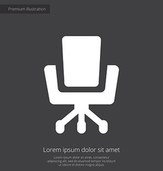 Office chair premium icon white on dark background vector