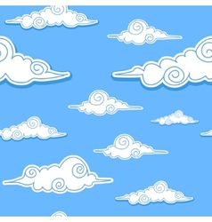 Seamless background with decorative clouds vector