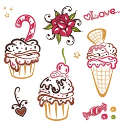 Muffins cakes vector