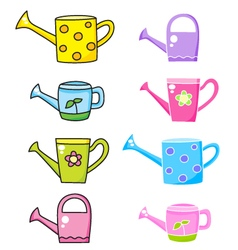 Set with watering can vector