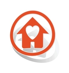 Love house sign sticker orange vector