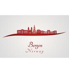 Bergen skyline in red vector image